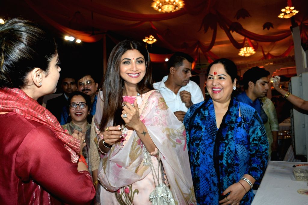Actress Shilpa Shetty during Janmashtami celebrations at ISKCON temple, in Mumbai on Aug 25, 2019. - Shilpa Shetty