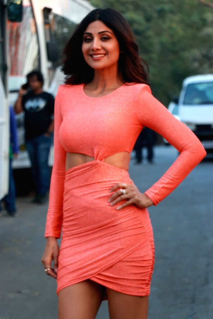 """Actress Shilpa Shetty during the promotions of her upcoming film """"Nikamma"""" on the sets of reality television show Bigg Boss 13, in Mumbai on Feb 7, 2020. - Shilpa Shetty"""