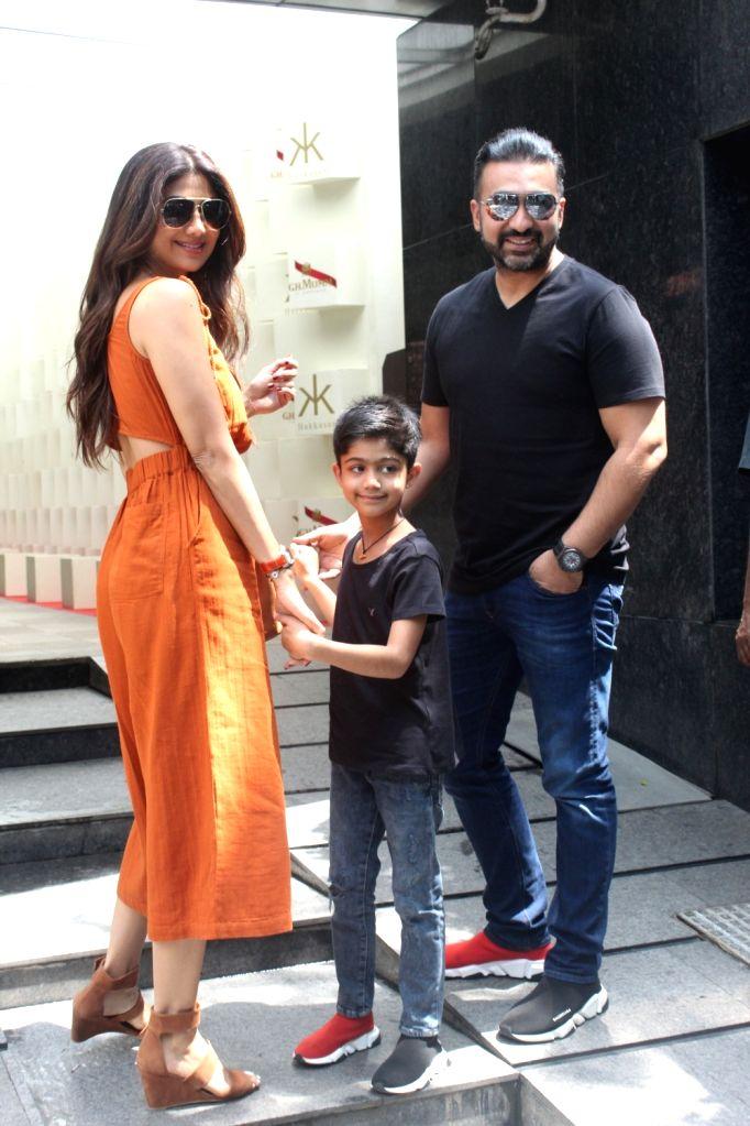 Actress Shilpa Shetty, her husband Raj Kundra and son Viaan Raj Kundra seen at a Bandra restaurant in Mumbai on Sep 22, 2019. - Shilpa Shetty and Raj Kundra