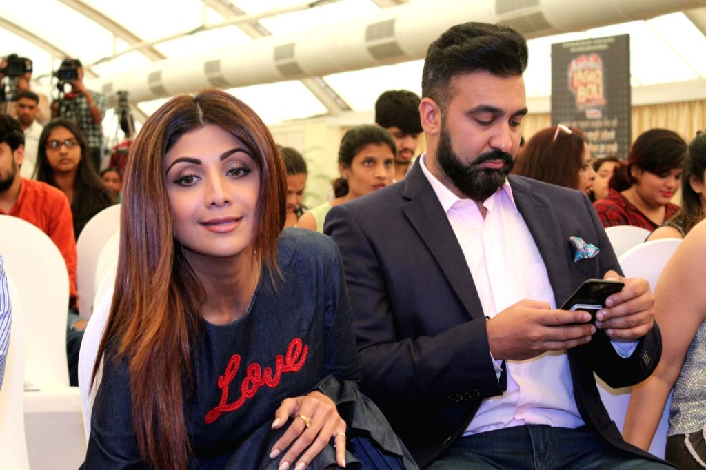 "Actress Shilpa Shetty Kundra along with her husband Raj Kundra during the launch of New Show ""Aunty Boli Lagao Boli"" in Mumbai on Sept 18, 2017. - Shilpa Shetty Kundra and Raj Kundra"