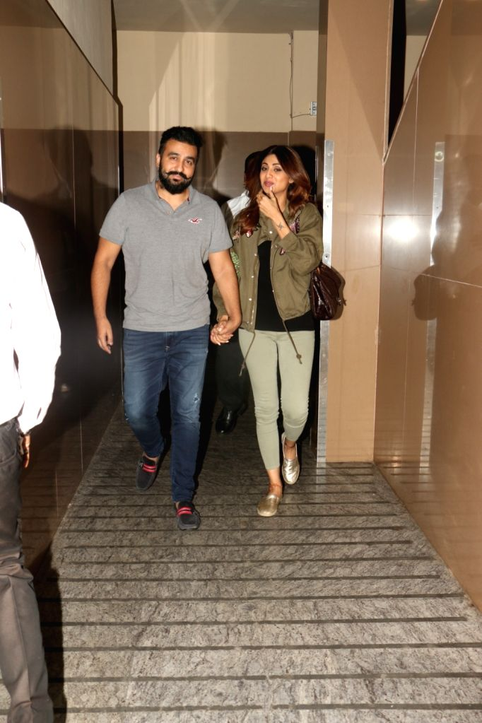 Actress Shilpa Shetty Kundra along with her husband Raj Kundra seen at Juhu PVR Cinema in Mumbai on Oct 9, 2017. - Shilpa Shetty Kundra and Raj Kundra