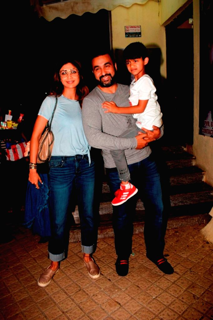 Actress Shilpa Shetty Kundra along with her husband Raj Kundra and son Viaan Raj Kundra seen at a cinema theatre in Juhu, Mumbai on July 24, 2018. - Shilpa Shetty Kundra and Raj Kundra
