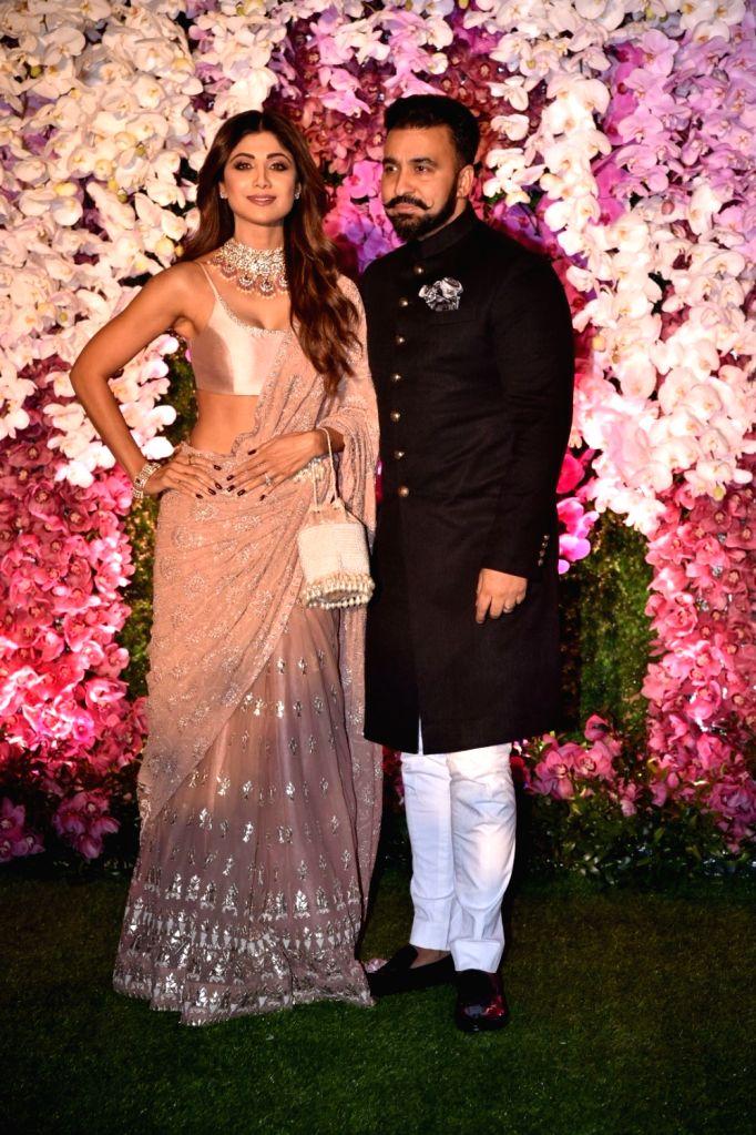 Actress Shilpa Shetty Kundra along with her husband Raj Kundra at the wedding reception of Akash Ambani and Shloka Mehta in Mumbai on March 10, 2019. - Shilpa Shetty Kundra, Raj Kundra, Akash Ambani and Shloka Mehta