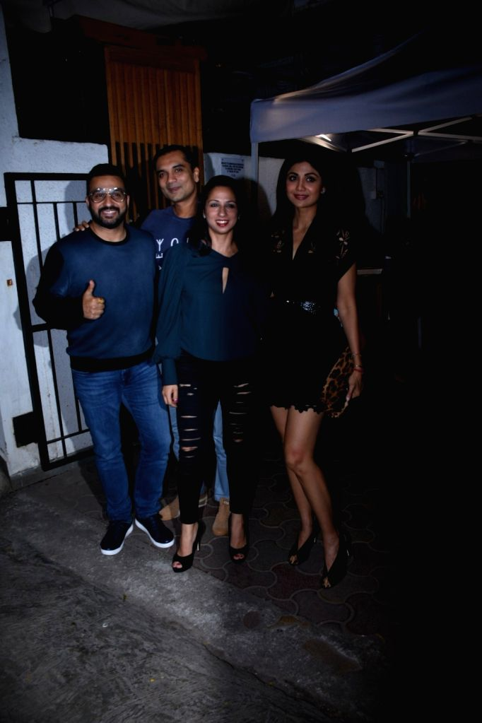 Actress Shilpa Shetty Kundra and her husband Raj Kundra seen at a Bandra restaurant in Mumbai on Nov 15, 2019. - Shilpa Shetty Kundra and Raj Kundra