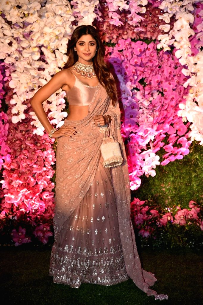 Actress Shilpa Shetty Kundra at the wedding reception of Akash Ambani and Shloka Mehta in Mumbai on March 10, 2019. - Shilpa Shetty Kundra, Akash Ambani and Shloka Mehta