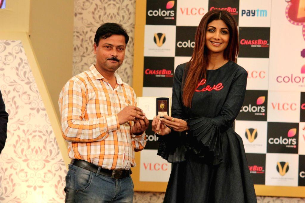 """Actress Shilpa Shetty Kundra during the launch of New Show """"Aunty Boli Lagao Boli"""" in Mumbai on Sept 18, 2017. - Shilpa Shetty Kundra"""