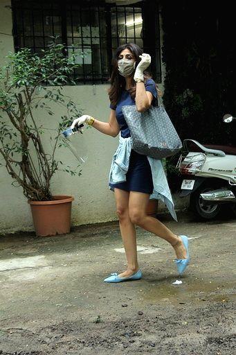 Actress Shilpa Shetty Kundra seen at a salon in Mumbai's Juhu on July 31, 2020. - Shilpa Shetty Kundra