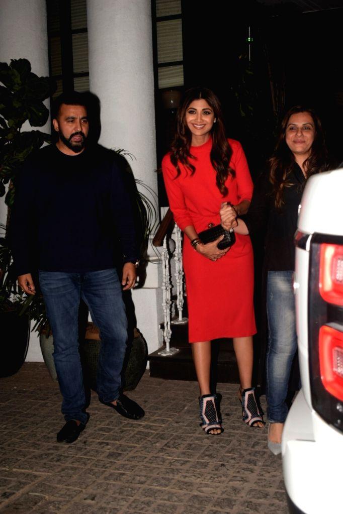 Actress Shilpa Shetty Kundra with her husband Raj Kundra seen at Soho House in Juhu in Mumbai, on Dec 10, 2018. - Shilpa Shetty Kundra and Raj Kundra