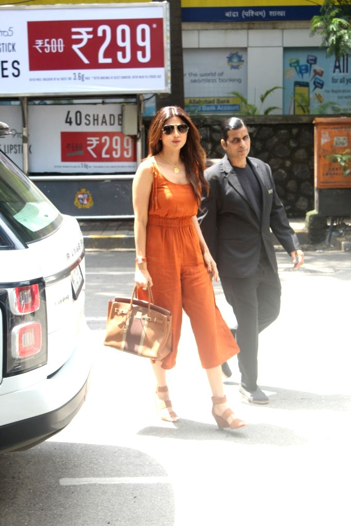 Actress Shilpa Shetty seen at a Bandra restaurant in Mumbai on Sep 22, 2019. - Shilpa Shetty