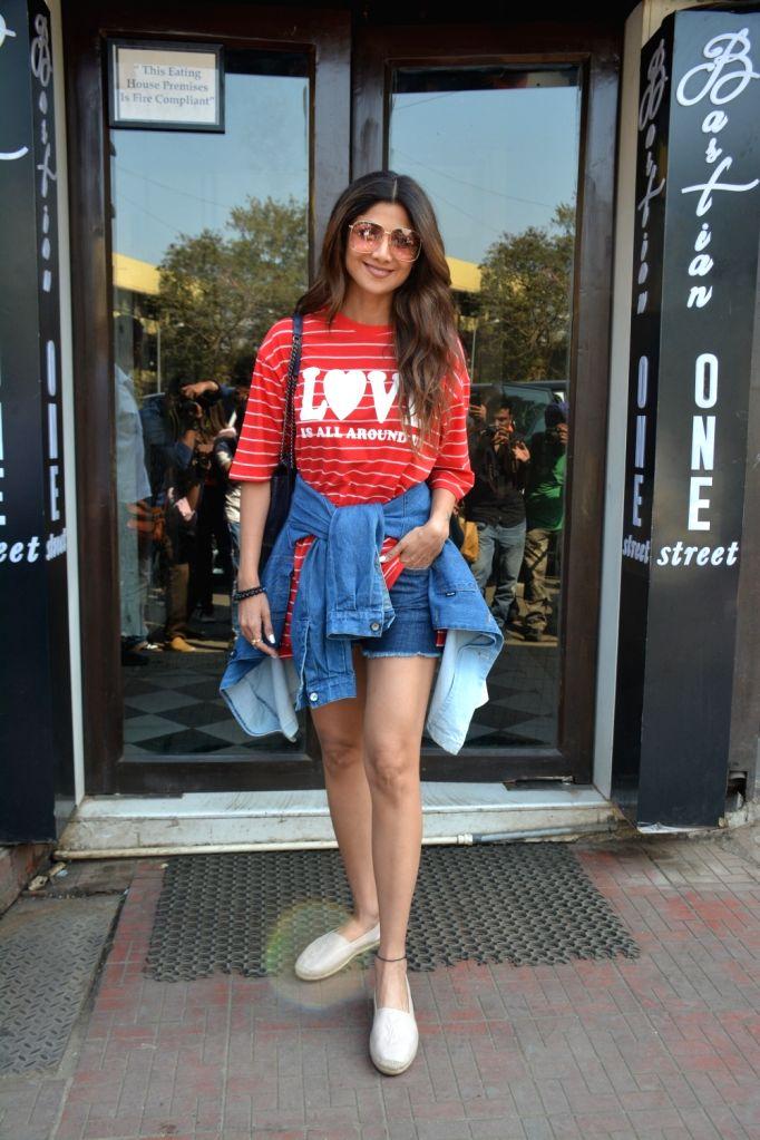 Actress Shilpa Shetty seen at a Mumbai restaurant on Feb 21, 2019. - Shilpa Shetty