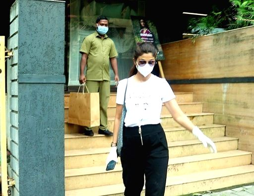 Actress Shilpa Shetty seen at Juhu in Mumbai on Aug 31, 2020. - Shilpa Shetty