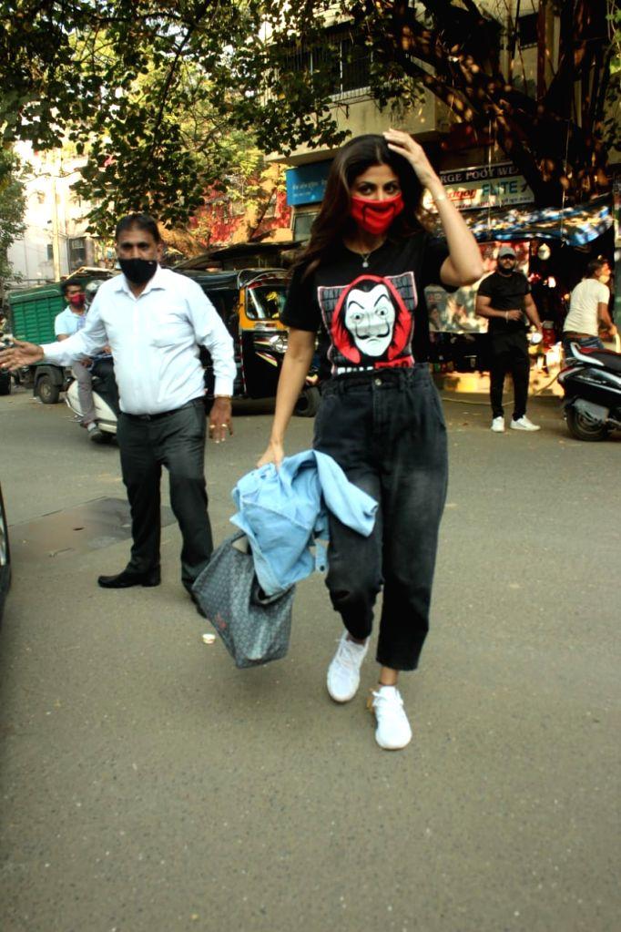 Actress Shilpa Shetty seen at Khar in Mumbai on Dec 5, 2020. - Shilpa Shetty