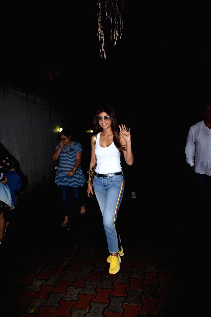 Actress Shilpa Shetty seen at the office of film producer Ramesh Taurani in Mumbai on Aug 2, 2019. - Shilpa Shetty