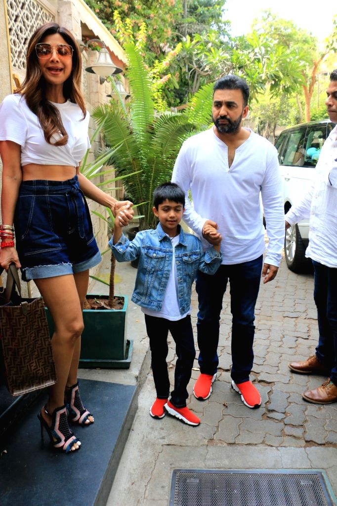 Actress Shilpa Shetty seen with Raj Kundra seen in in Mumbai on June 8, 2019. - Shilpa Shetty and Raj Kundra