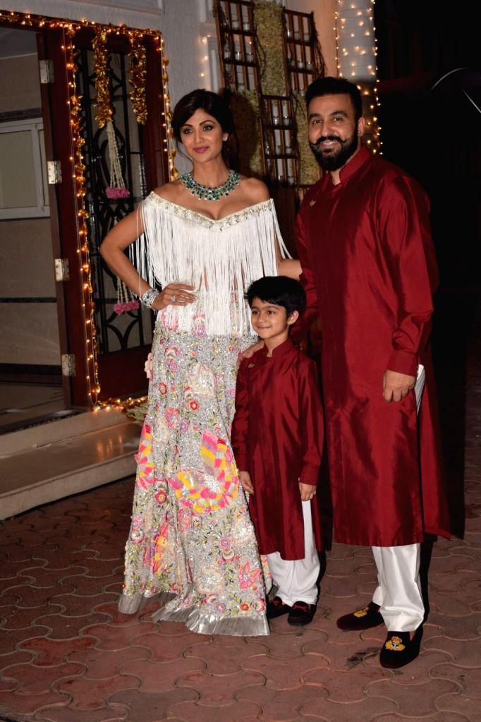Shilpa Shetty's Diwali party - Shilpa Shetty, Raj Kundra and