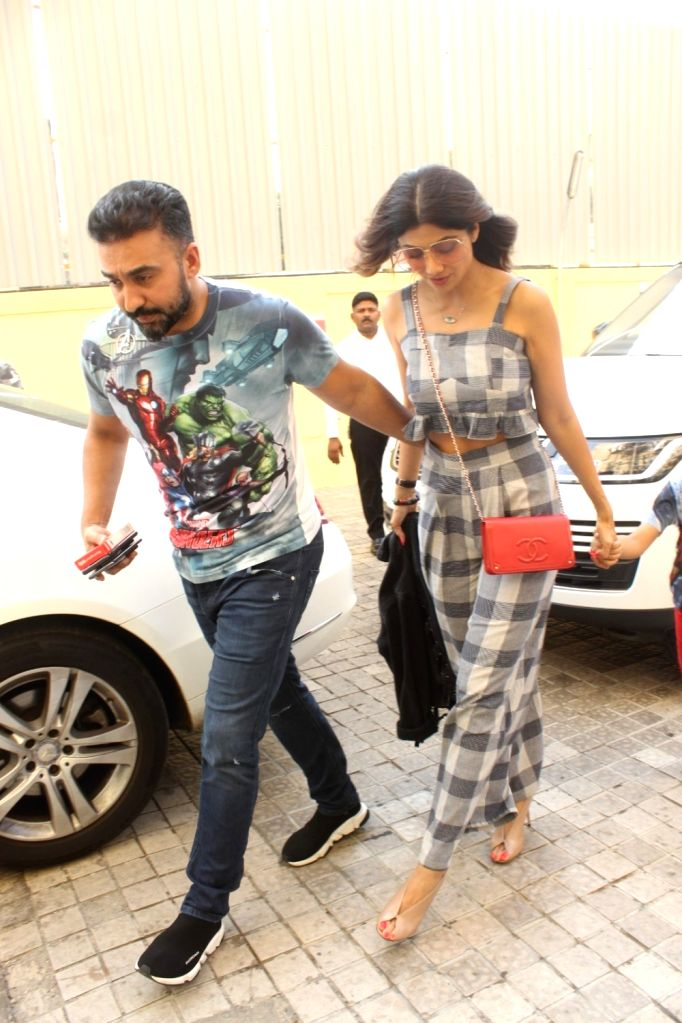 """Actress Shilpa Shetty with her husband Raj Kundra at the screening of the film """"Avengers: Endgame"""" in Mumbai on April 27, 2019. - Shilpa Shetty and Raj Kundra"""
