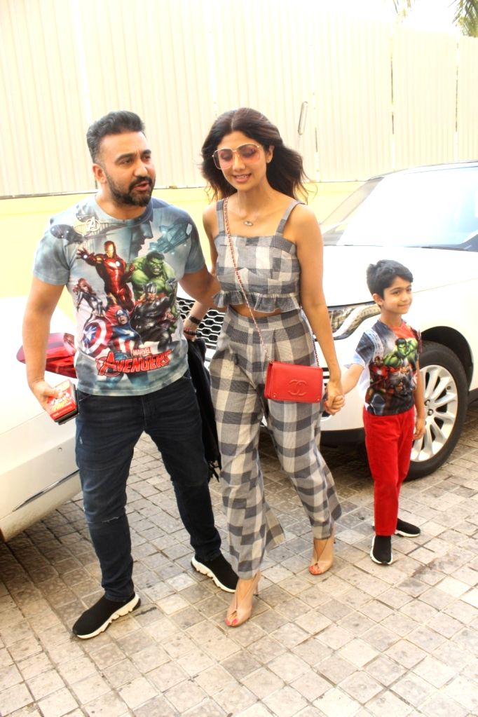 "Actress Shilpa Shetty with her husband Raj Kundra and son Viaan at the screening of the film ""Avengers: Endgame"" in Mumbai on April 27, 2019. - Shilpa Shetty and Raj Kundra"