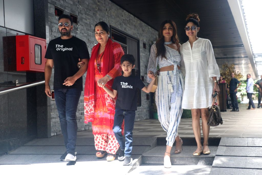 Mumbai: Shilpa Shetty with her family seen outside a restaurant