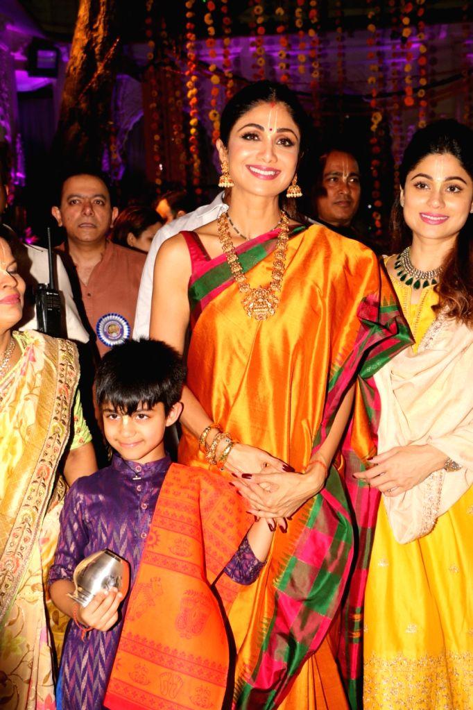 Actress Shilpa Shetty with her son Viaan Raj Kundra and sister-actress Shamita Shetty at ISKCON temple, on the occasion of Ram Navami festival, in Mumbai, on April 14, 2019. - Shilpa Shetty, Raj Kundra and Shamita Shetty