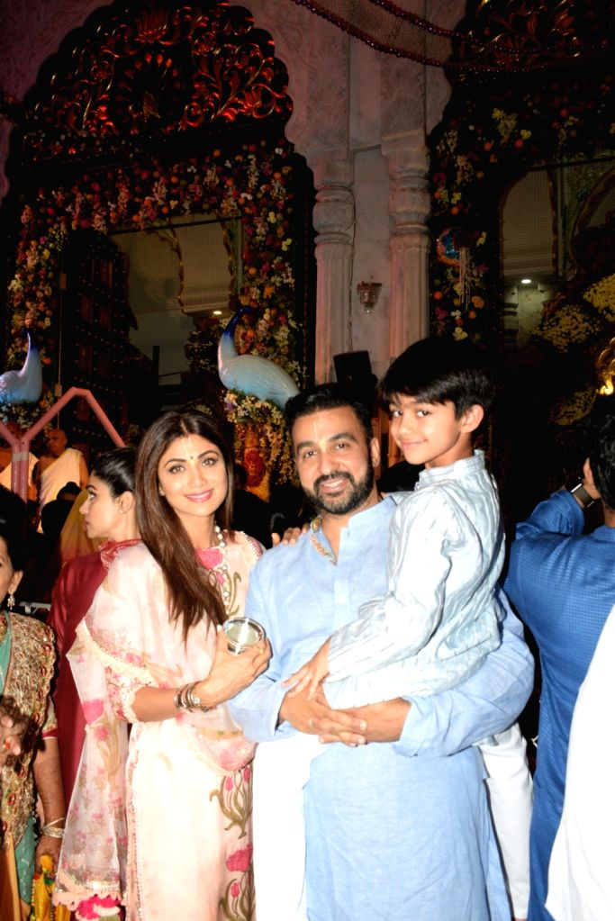 Actress Shilpa Shetty with Raj Kundra during Janmashtami celebrations at ISKCON temple, in Mumbai on Aug 25, 2019. - Shilpa Shetty and Raj Kundra