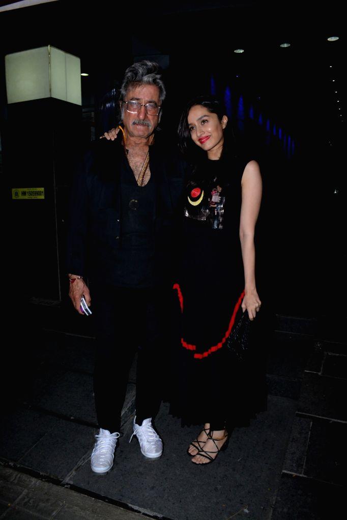 Actress Shraddha Kapoor along with her father actor Shakti Kapoor at the actress Padmini Kolhapure's birthday party in Mumbai on Nov. 1, 2018. - Shraddha Kapoor