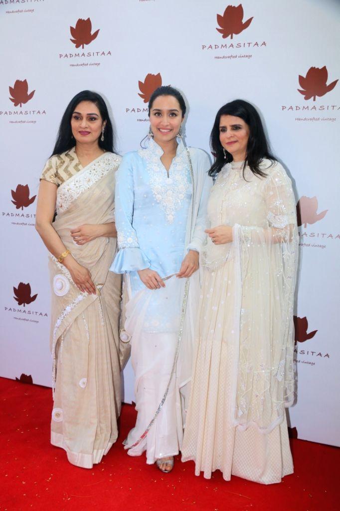 Actress Shraddha Kapoor and Padmini Kolhapure at the launch of Padmasitaa clothing collection in Mumbai on Jan 25, 2018. - Shraddha Kapoor