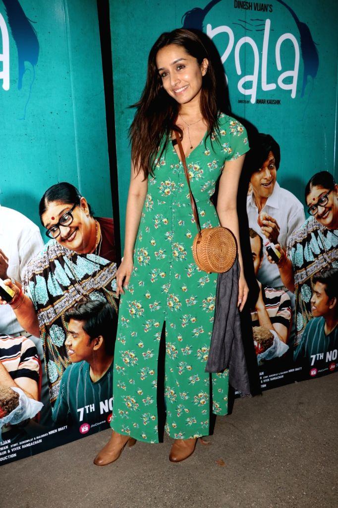 "Actress Shraddha Kapoor at the special screening of the film ""Bala"" in Mumbai on Nov 6, 2019. - Shraddha Kapoor"