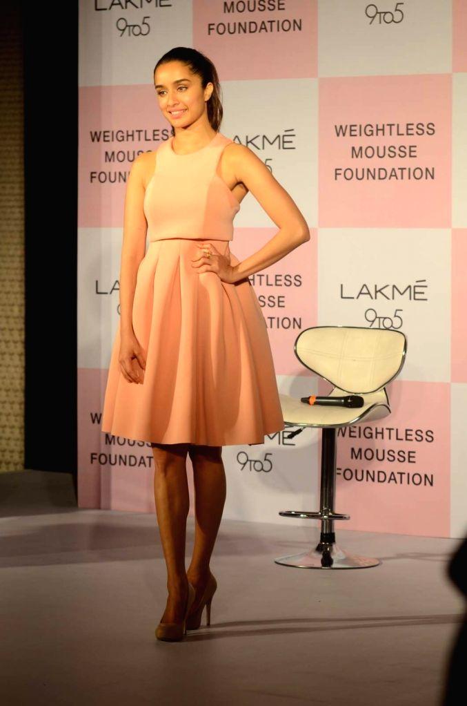 Actress Shraddha Kapoor during the launch of Lakme 9 to 5 Weightless Mousse Foundation in Mumbai, on Jan 9, 2016. - Shraddha Kapoor