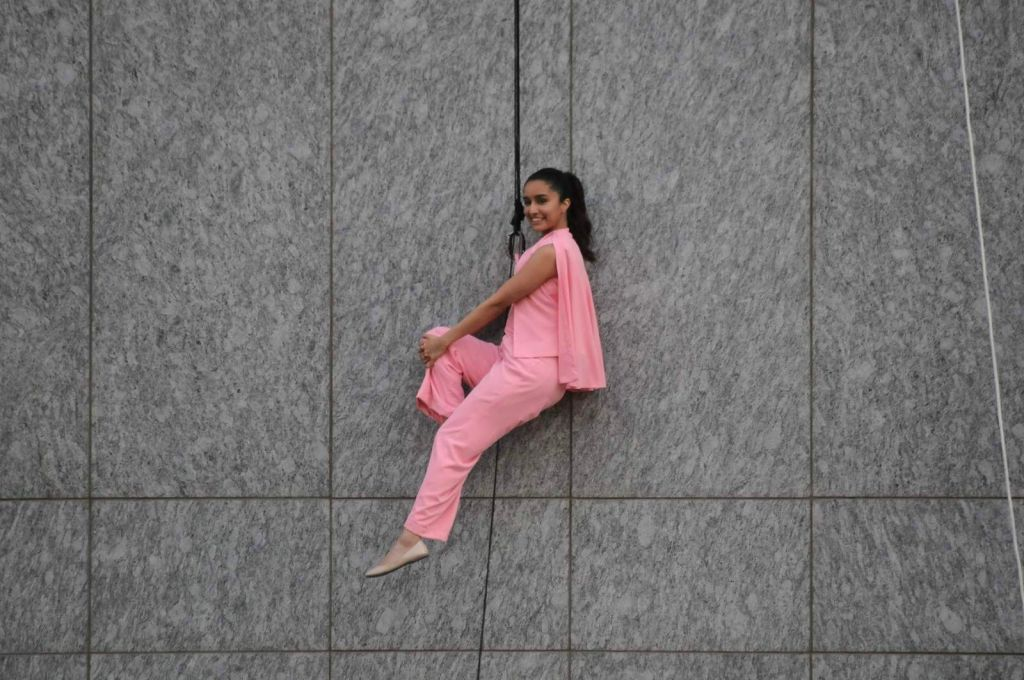 Actress Shraddha Kapoor, perform a gravity-defying stunt during the launch of Lakme 9 to 5 Weightless Mousse Foundation in Mumbai, on Jan 9, 2016. - Shraddha Kapoor