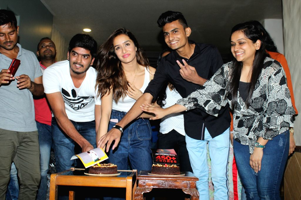 Actress Shraddha Kapoor with her fans at her residence in Mumbai on Sep 23, 2019. - Shraddha Kapoor