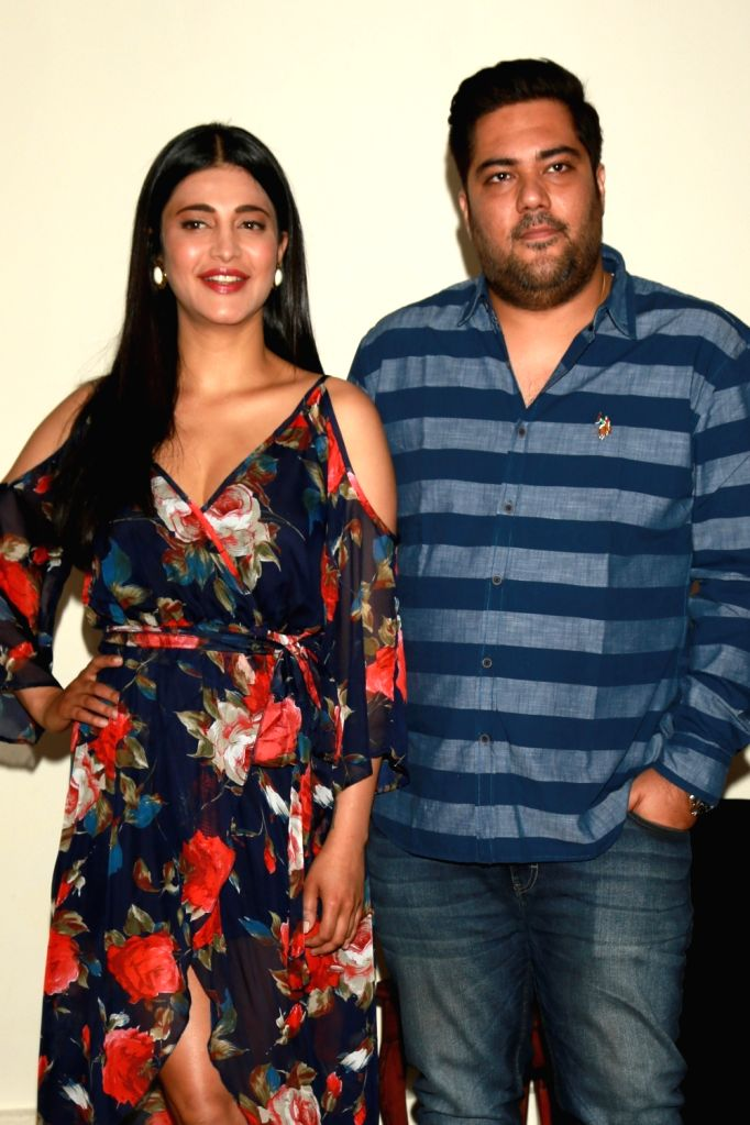 "Actress Shruti Haasan and producer Amul Vikas Mohan during a press conference to promote their upcoming film ""Behen Hogi Teri"" in New Delhi on May 31, 2017. - Shruti Haasan"