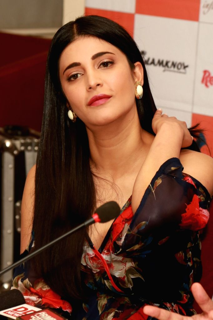 "Actress Shruti Haasan during a press conference to promote her upcoming film ""Behen Hogi Teri"" in New Delhi on May 31, 2017. - Shruti Haasan"