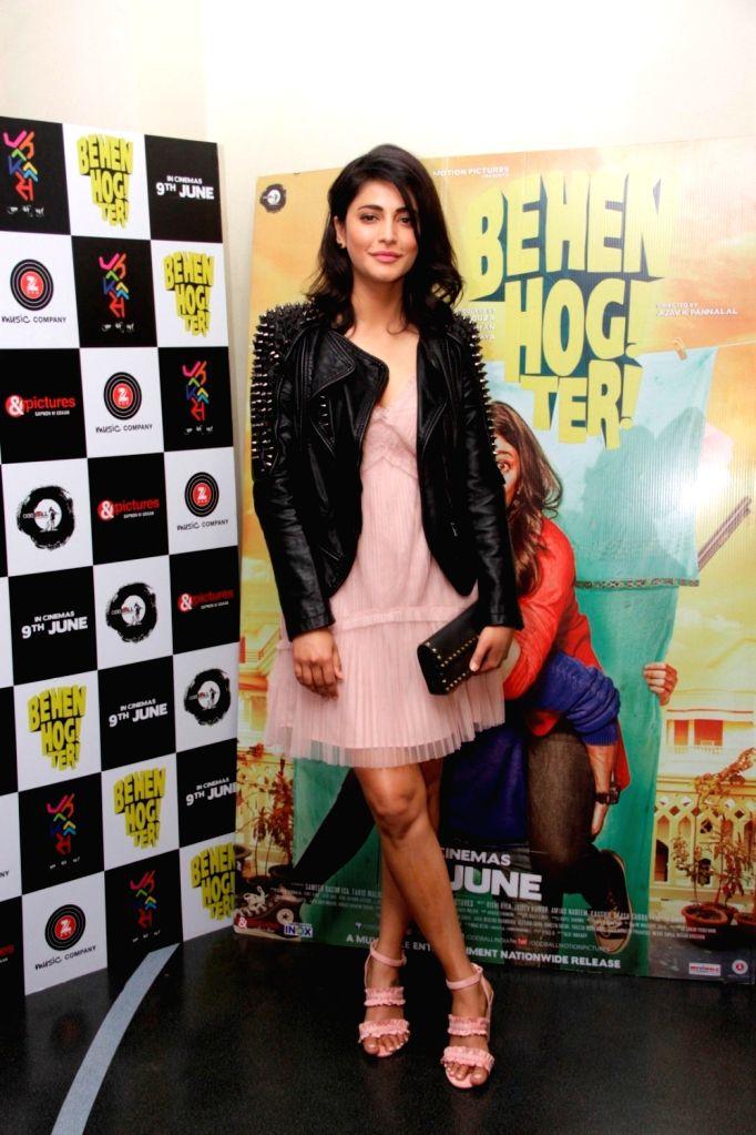 Actress Shruti Haasan during the screening of film Behen Hogi Teri in Mumbai, in Mumbai, on June 8, 2017. - Shruti Haasan
