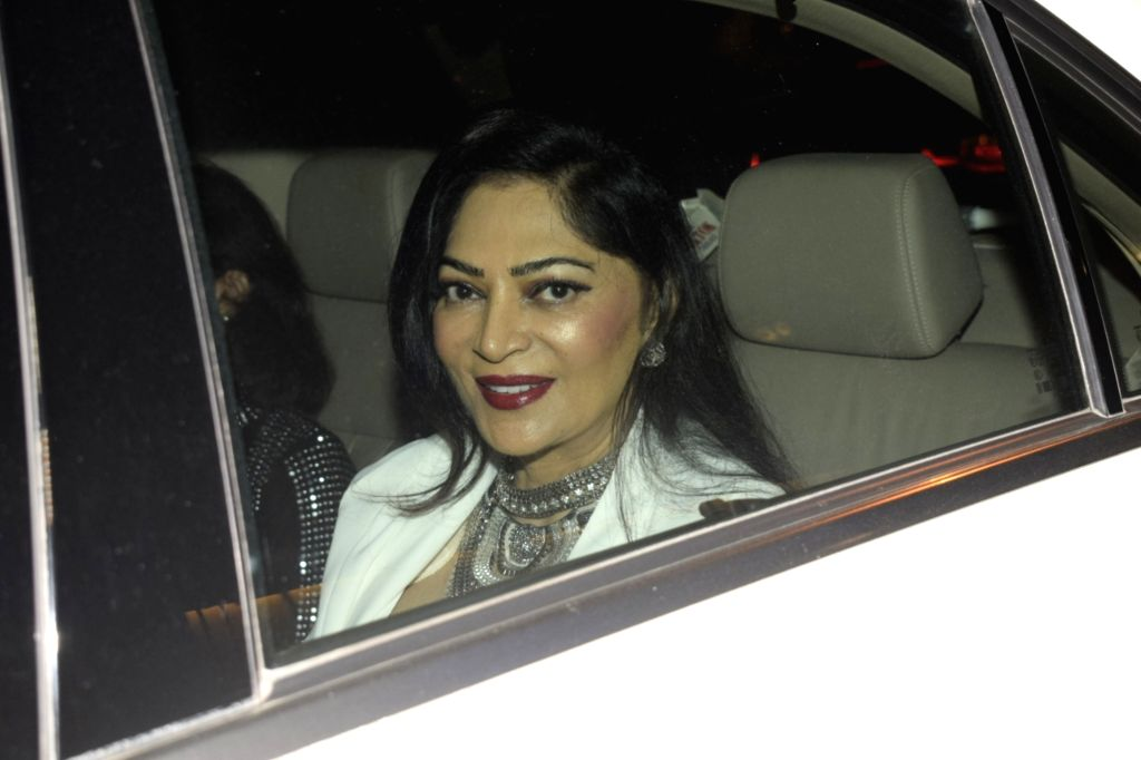 Actress Simi Garewal arrive to attend birthday celebrations of actor Sanjay Khan in Mumbai on Jan 3, 2019. - Simi Garewal and Sanjay Khan