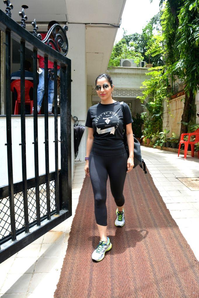 Actress-singer Sophie Choudry seen at Mumbai's Bandra on July 18, 2018.