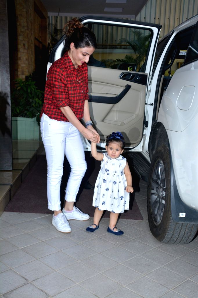 Actress Soha Ali Khan along with her daughter Inaaya Naumi Kemmu arrives to attend a pre-birthday party of Taimur Ali Khan in Mumbai on Dec 7, 2018. - Soha Ali Khan and Taimur Ali Khan
