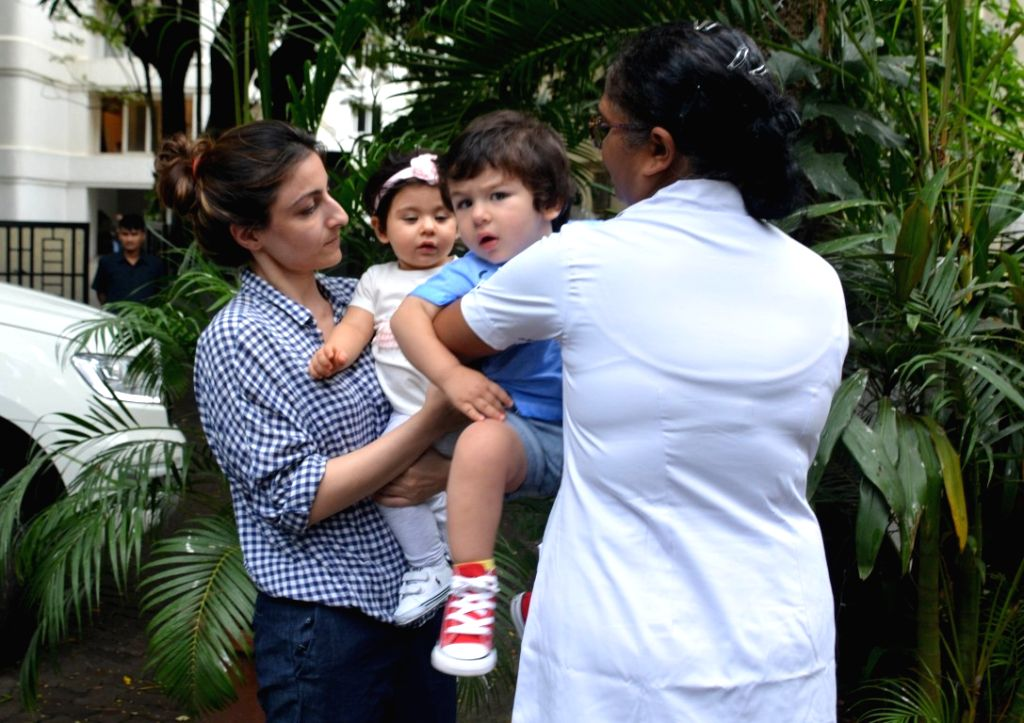 Actress Soha Ali Khan along with her daughter Inaaya Naumi Kemmu and nephew Taimur.(Photo: IANS) - Soha Ali Khan