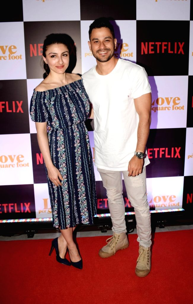 "Actress Soha Ali Khan along with her husband Kunal Kemmu at the screening of film ""Love Per Square Foot"" in Mumbai on Feb 11, 2018. - Soha Ali Khan"