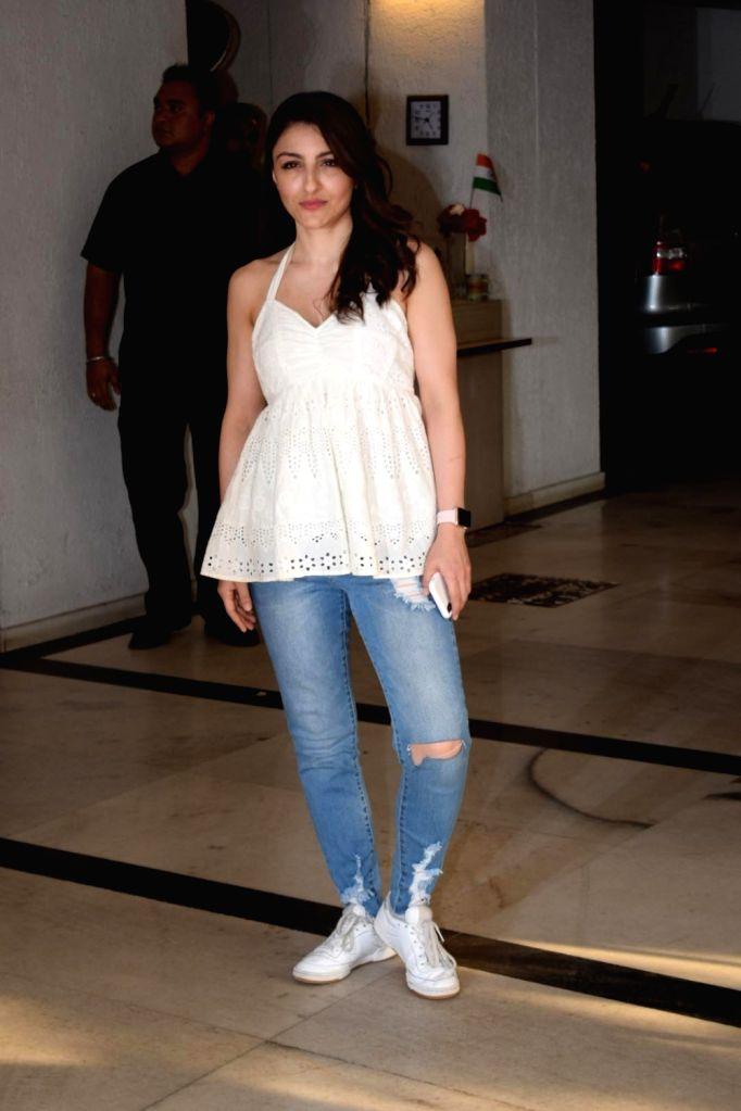 Actress Soha Ali Khan arrives to attend director Karan Johar's twins Roohi and Yash first birthday in Mumbai on Feb 7, 2018. - Soha Ali Khan