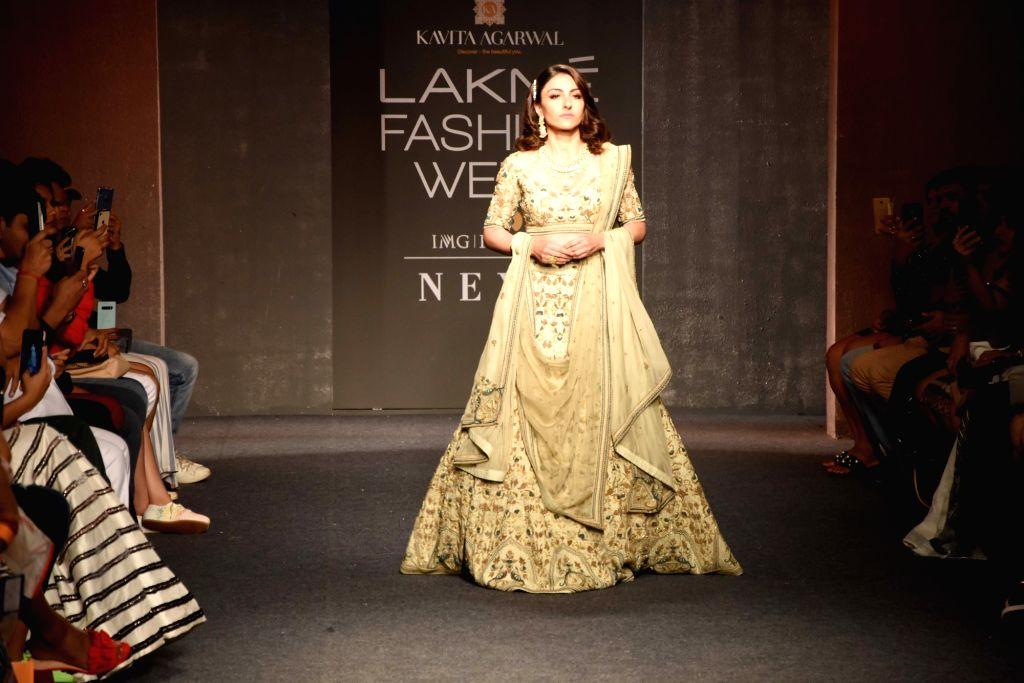 Actress Soha Ali Khan walks the ramp for designer Kavita Agarwal at the Lakme Fashion Week Winter/Festive 2019 in Mumbai on Aug 25, 2019. - Soha Ali Khan