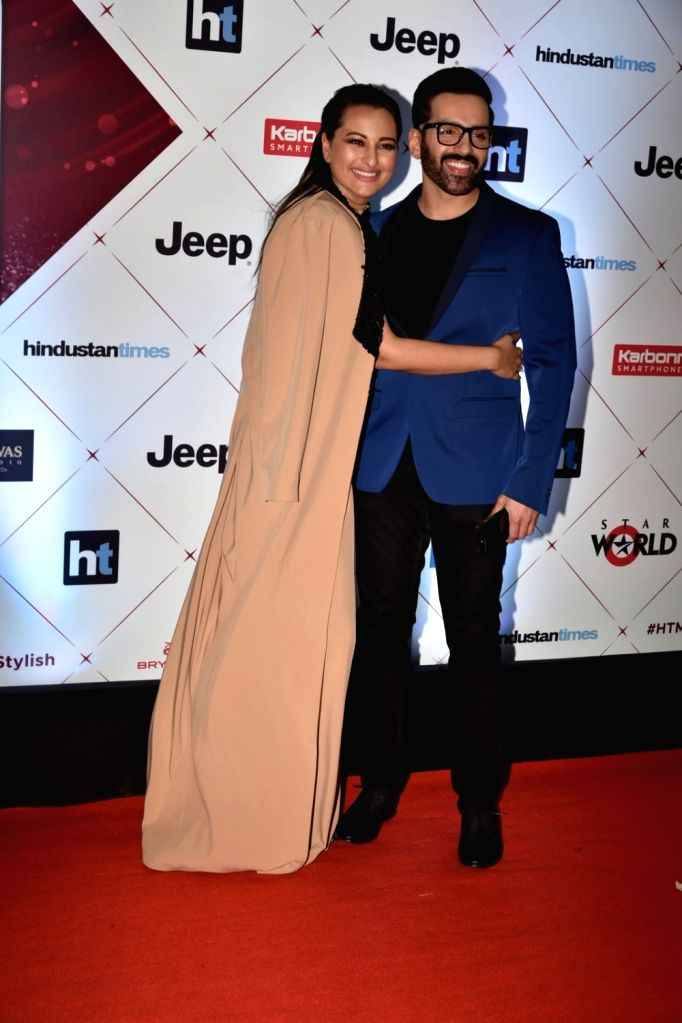 "Actress Sonakshi Sinha along with her brother Luv Sinha at the red carpet of ""HT India's Most Stylish Awards"" in Mumbai on Jan 24, 2018. - Sonakshi Sinha and Luv Sinha"