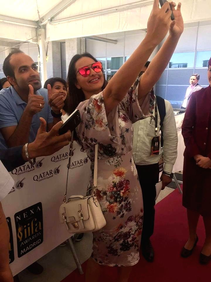 Actress Sonakshi Sinha at Adolfo Suarez Madrid-Barajas Airport to attend the International Indian Film Academy (IIFA) Awards in Madrid on June 22, 2016. - Sonakshi Sinha
