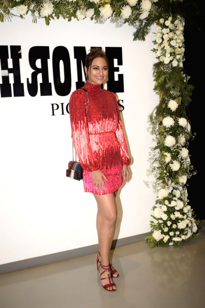 """Actress Sonakshi Sinha at Chrome Picture's15th anniversary and """"Badhaai Ho"""" success party in Mumbai on Jan. 19, 2019. - Sonakshi Sinha"""