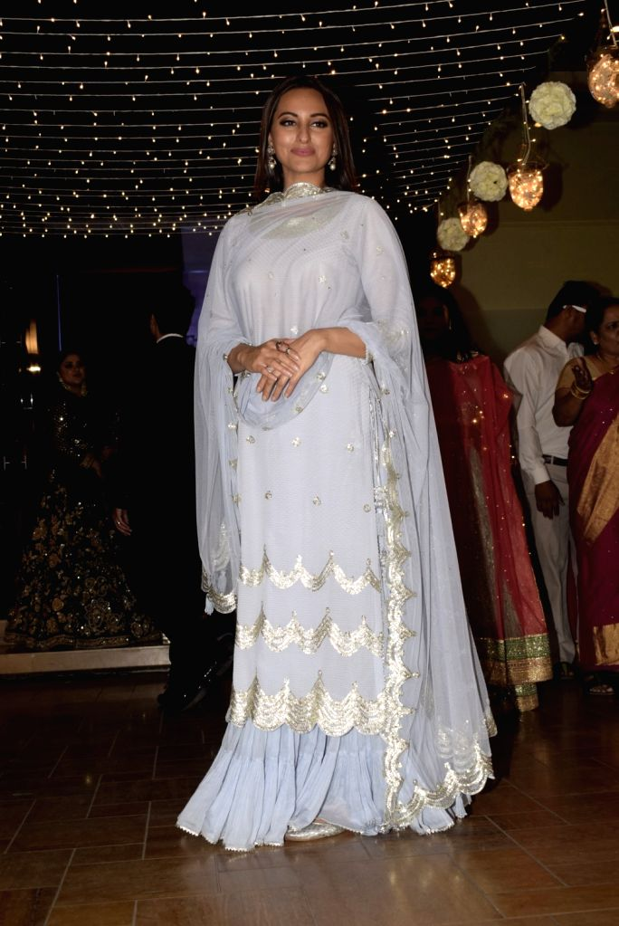 Actress Sonakshi Sinha at her friend's wedding reception in Mumbai, on Feb 16, 2019. - Sonakshi Sinha