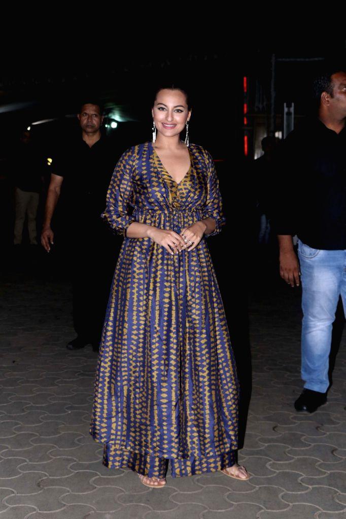 """Actress Sonakshi Sinha at the screening of the upcoming film """"Khandaani Shafakhana"""", in Mumbai on Aug 2, 2019. - Sonakshi Sinha"""