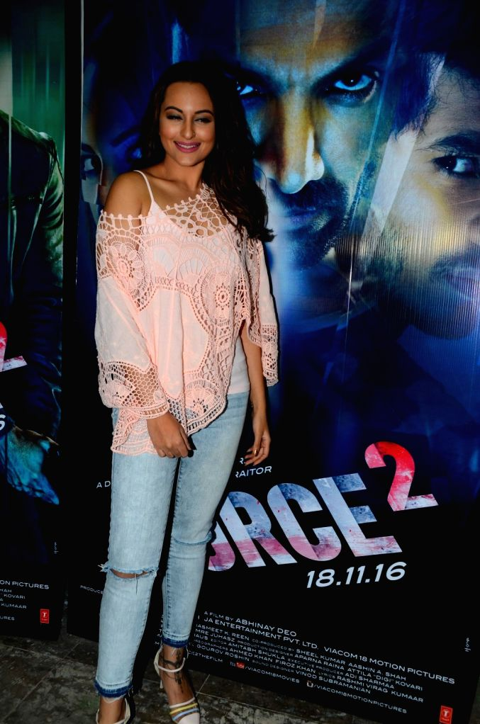 Actress Sonakshi Sinha during media interaction of the film Force 2, in Mumbai, on Nov 18, 2016. - Sonakshi Sinha