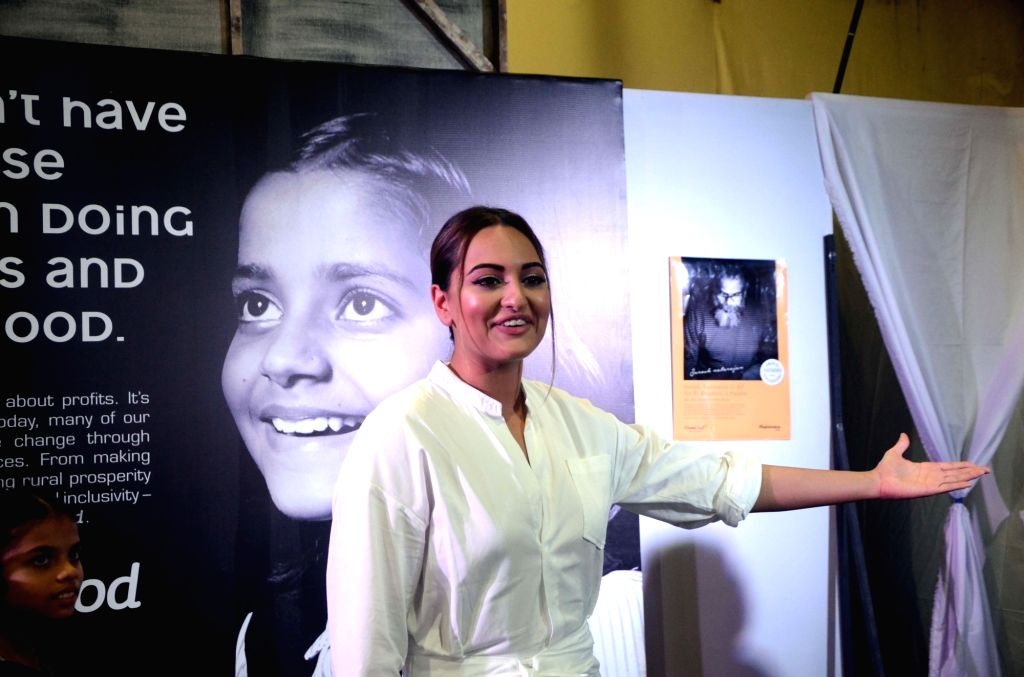 Actress Sonakshi Sinha during Project Nanhi Kali, the 'Proud Fathers For Daughters' initiative in Mumbai on Aug 5, 2017. - Sonakshi Sinha