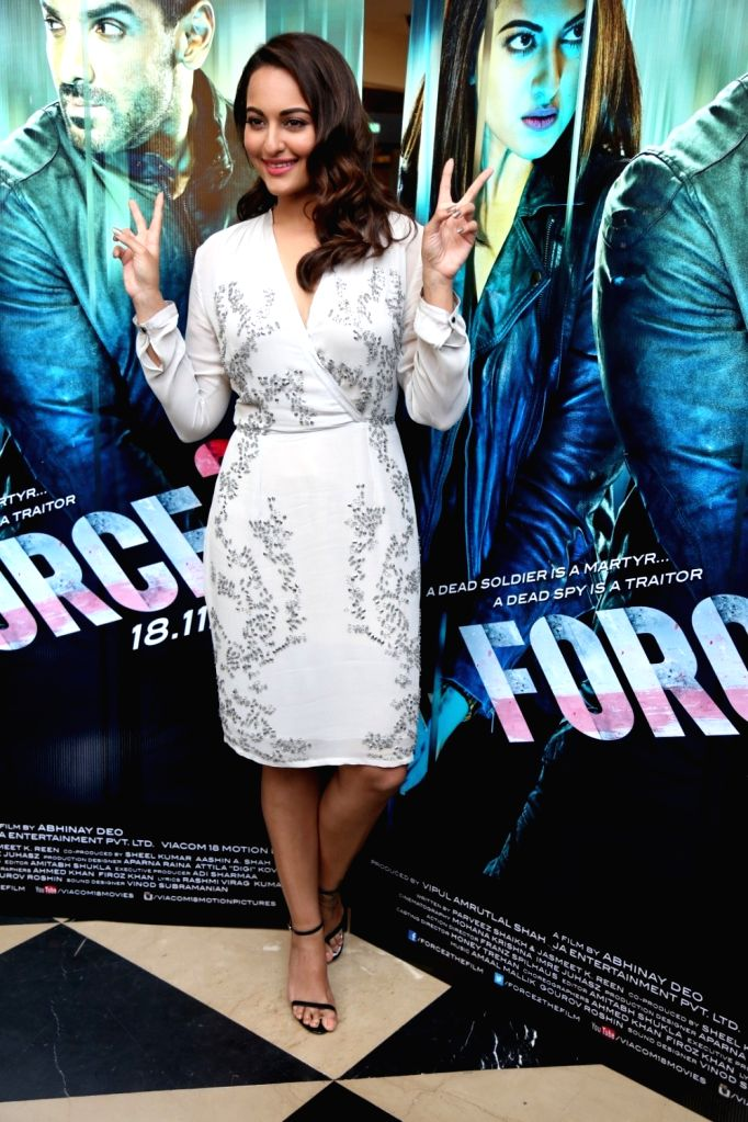 Actress Sonakshi Sinha during the trailer launch of film Force 2, in Mumbai, on Sept 29, 2016. - Sonakshi Sinha