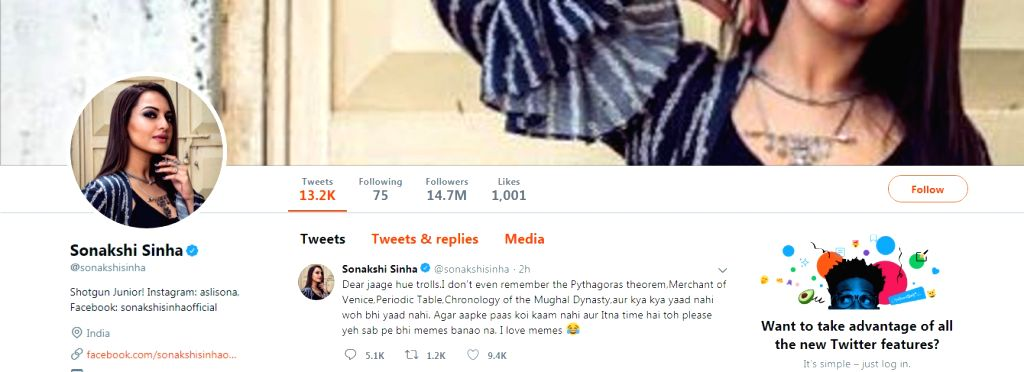 """Actress Sonakshi Sinha is unfazed by the rash comments of trolls that started after her appearance on """"Kaun Banega Crorepati"""" (KBC). She claims she is enjoying the memes on her. - Sonakshi Sinha"""