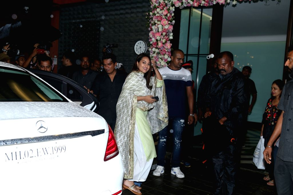 Actress Sonakshi Sinha seen at Arpita Khan's house for Ganesh darshan in Mumbai, on Sep 3, 2019. - Sonakshi Sinha and Arpita Khan